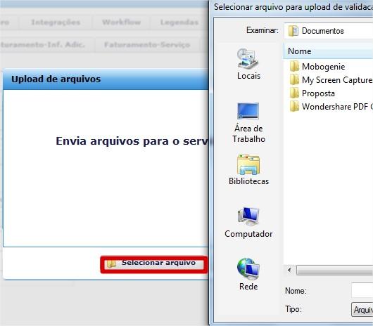 Selecionar arquivo para upload de validacao.erpflex.com.br