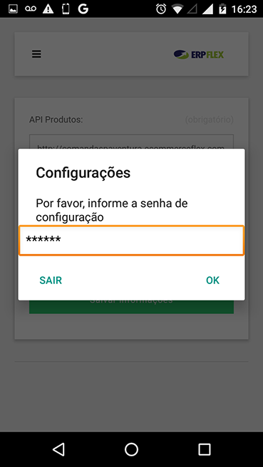 Passo 3 - Informe a Senha do API