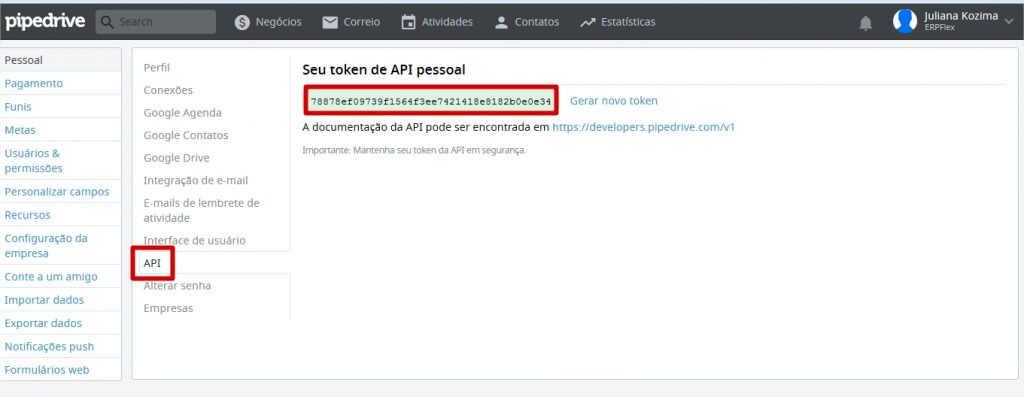 Copie o Token API